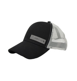 Gray Leather Patch Mesh Snapback Hat