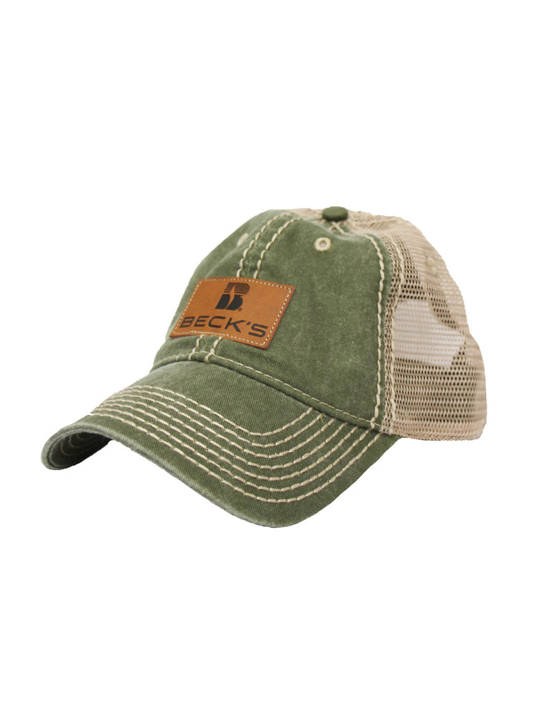 Pigment Dyed Mesh Hat with Faux Leather Patch