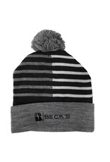Cap America Striped Knit Pom Beanie