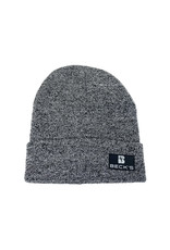 Gray Knit Cuffed Beanie with Leather Patch