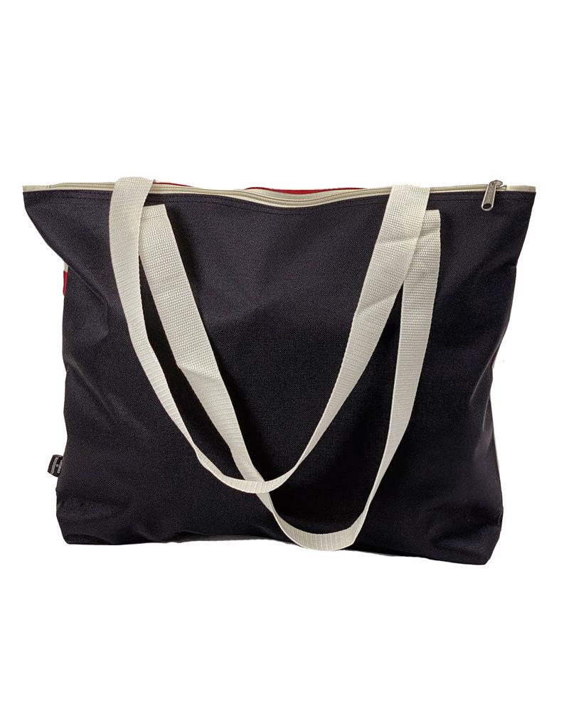 03215 Red/Cream Canvas Zippered Bag