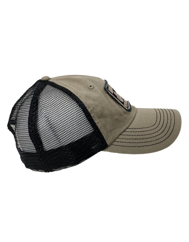 03262 Frayed Patch Mesh Hat - Stone & Black
