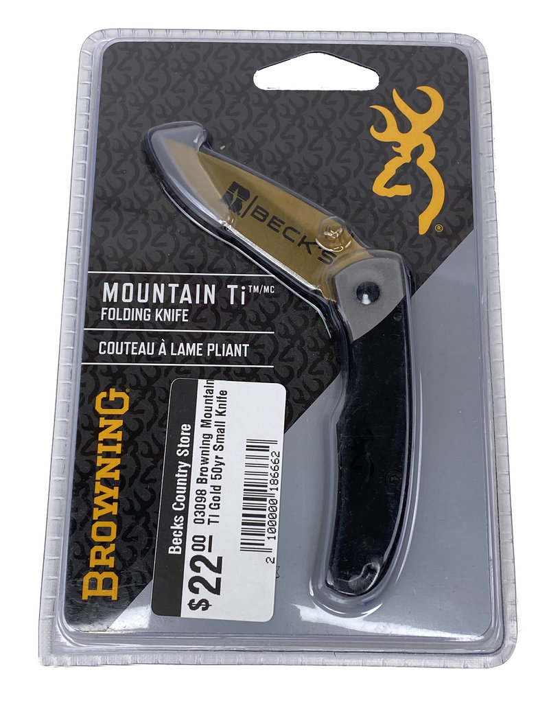 Browning 03098 Browning Mountain Ti Gold 50yr Small Knife