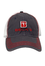 03257 Charcoal & Red Felt Patch Hat