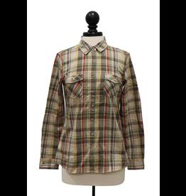 Weatherproof 01694 Vintage Ladies Burnout Flannel Khaki Plaid XL