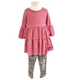 03481 Pink Ruffle Tunic w/ Leggings