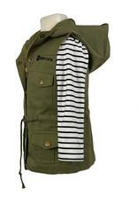 03539 Hoodie Vest w/ Stripe Shirt