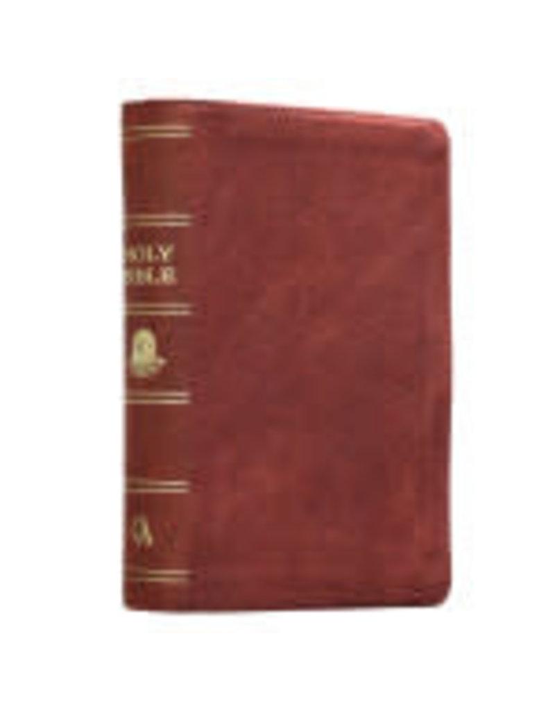 Premium Leather Burgundy KJV Bible Large Print Compact