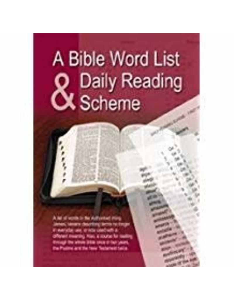 Bible Word List & Daily Reading Scheme