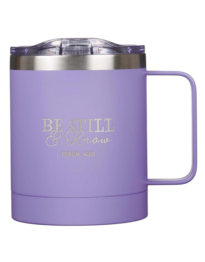 Be Still & Know Stainless Steel Camp Mug in Purple