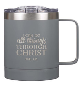I Can Do All Things Camp Style Stainless Steel Mug in Gray