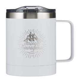 Strong & Courageous Stainless Steel Camp Mug in White