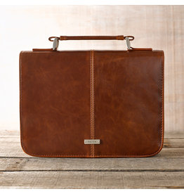 Faith Badge Faux Leather Bible Cover Brown