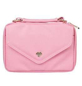 Faux Leather Fashion Bible Cover with Decorative Flap & Heart Badge
