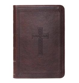 Large Print Dark Brown Cross Compact Bible
