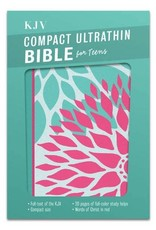 Compact Ultrathin Bible for Teens Teal & Pink Blossoms