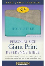 Personal Size Giant Print Reference Bible Grey Turquoise Flexisoft