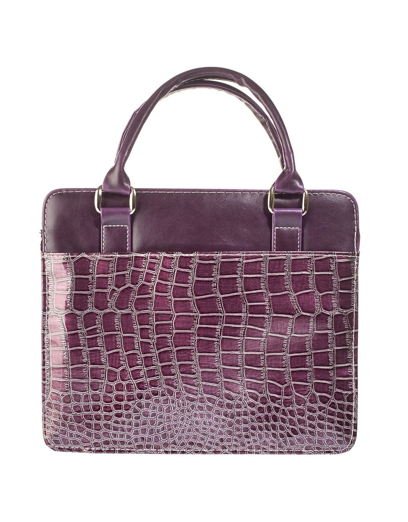 Purse Style with Crocodile Embossing in Purple Bible Cover