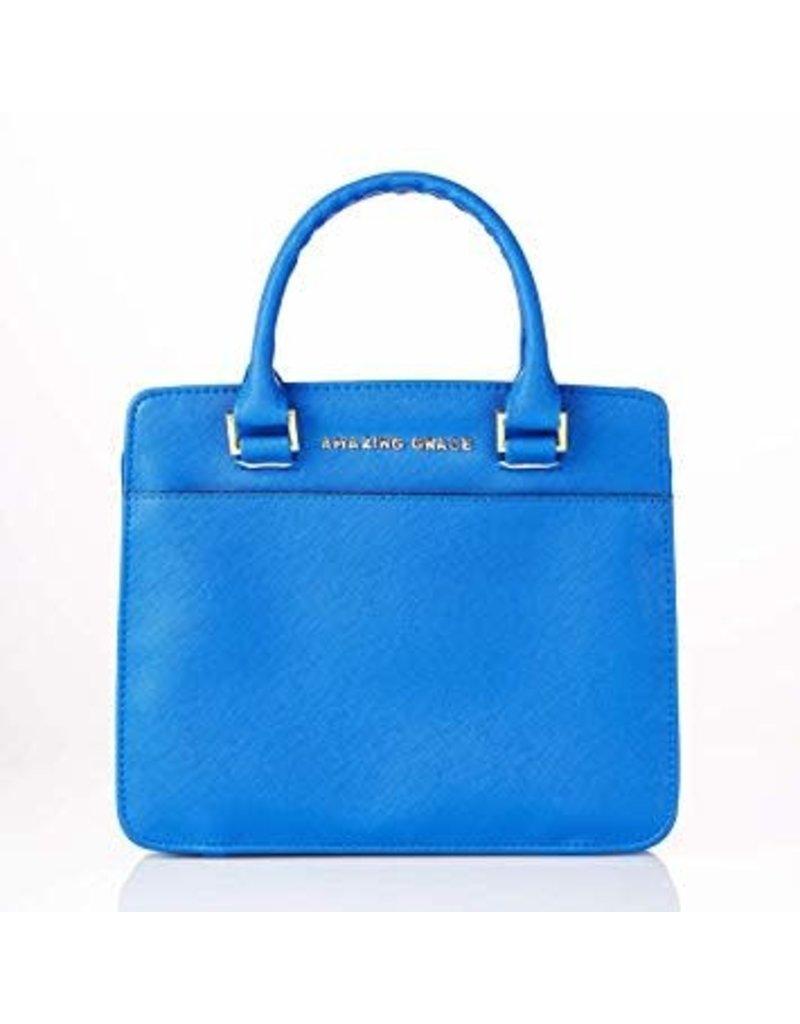 Amazing Grace Blue Faux Leather Purse-style Fashion Bible Cover