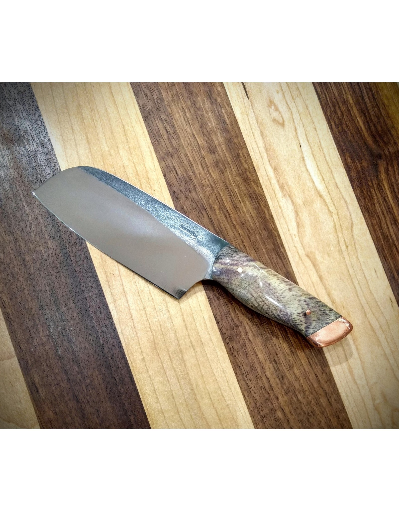"Serenity 4 3/8"" Mini Santoku CPM Copper Pommel"