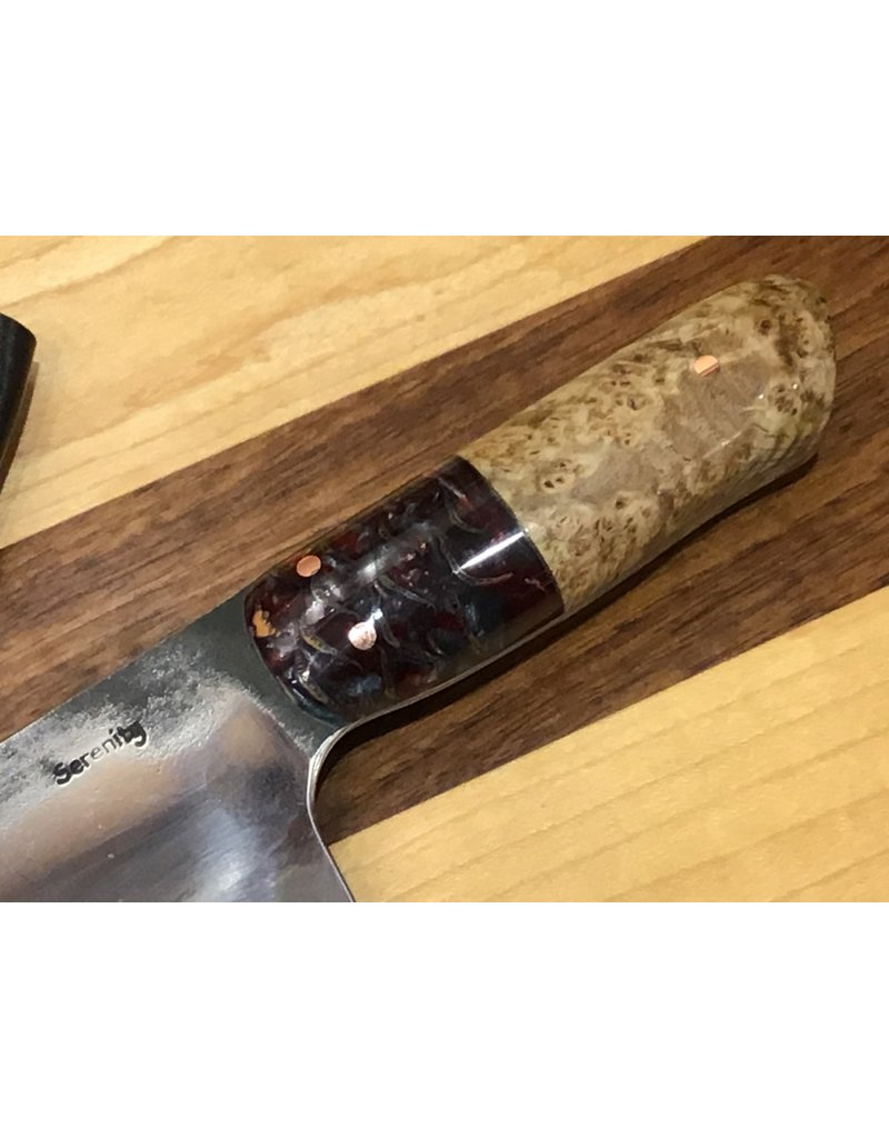 Serenity European Chef with Acid Hamon, Red Pine Cone & Black Ash Burl handle