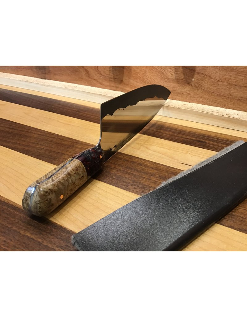 Serenity Stubby European Chef with Acid Hamon, Red Pine Cone & Black Ash Burl handle