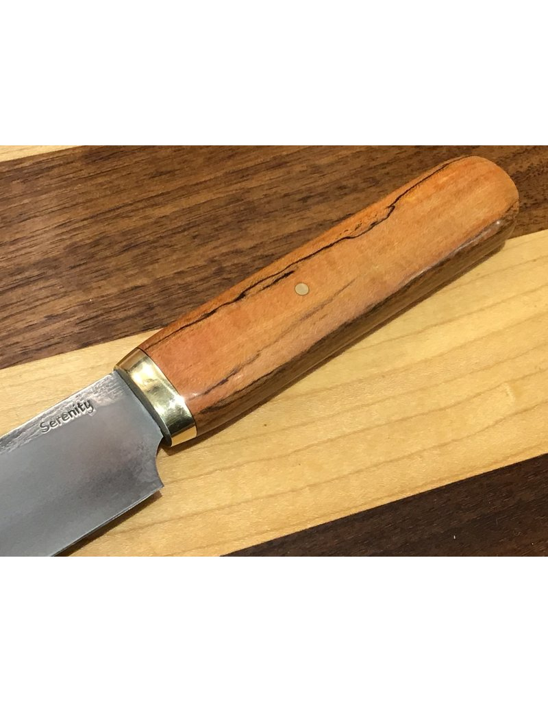 "Serenity 4 3/4"" K-Tip Honesuki with Brass Ferrule and Red Spalted Pecan"