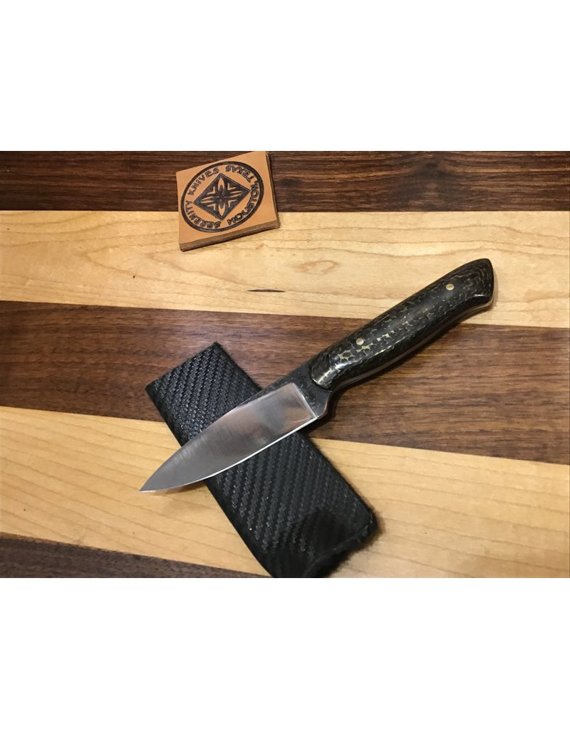 "Serenity 3 1/2"" Paring Knife with Carbon Fiber & Brass Plate Handle"