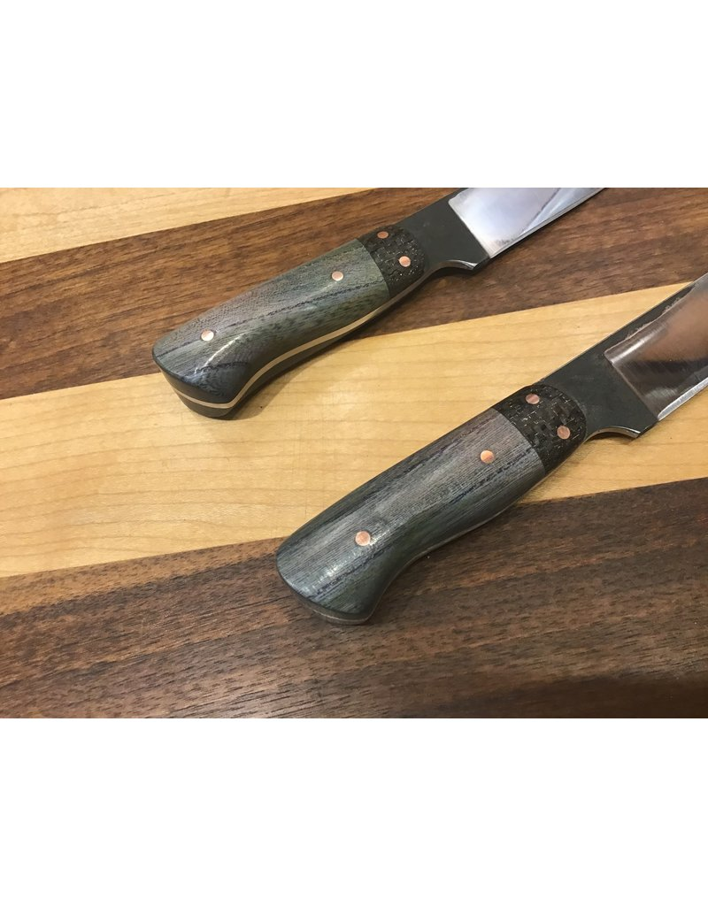 Serenity Set of 2 Steak Knives in CPM154 with Copper Woven Carbon Fiber and Blue Spalted Pecan Handle