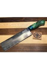 Serenity Nakiri with Green Box Elder and Bradford Green & Blue Hybrid Handle