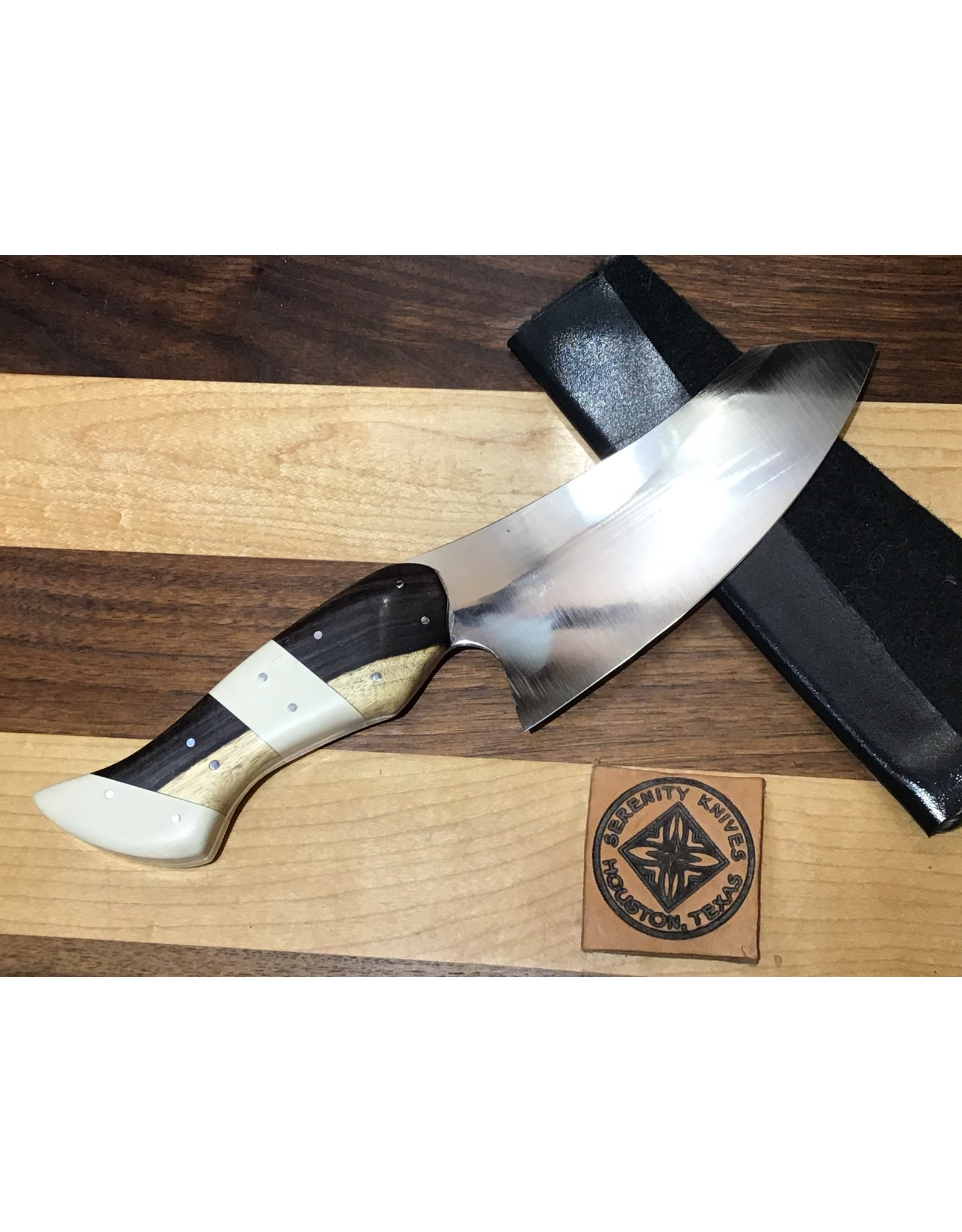 Serenity Hybrid Santoku In CPM154 with Ebony and Vintage 'Bone' Micarta
