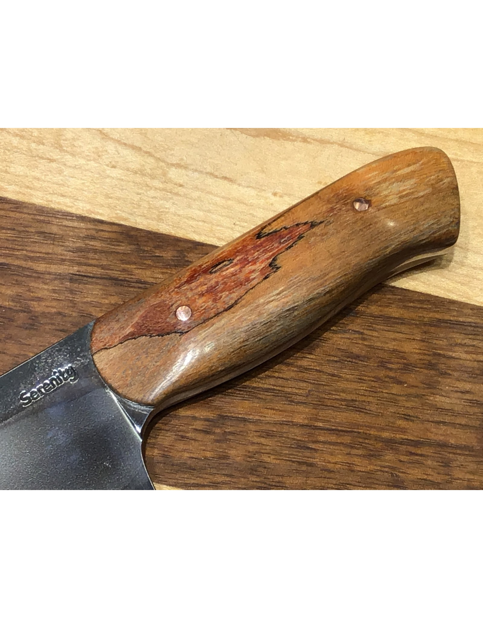 Serenity Mini Santoku - Thick Spine - CPM154 with Red Spalted Sugar Maple
