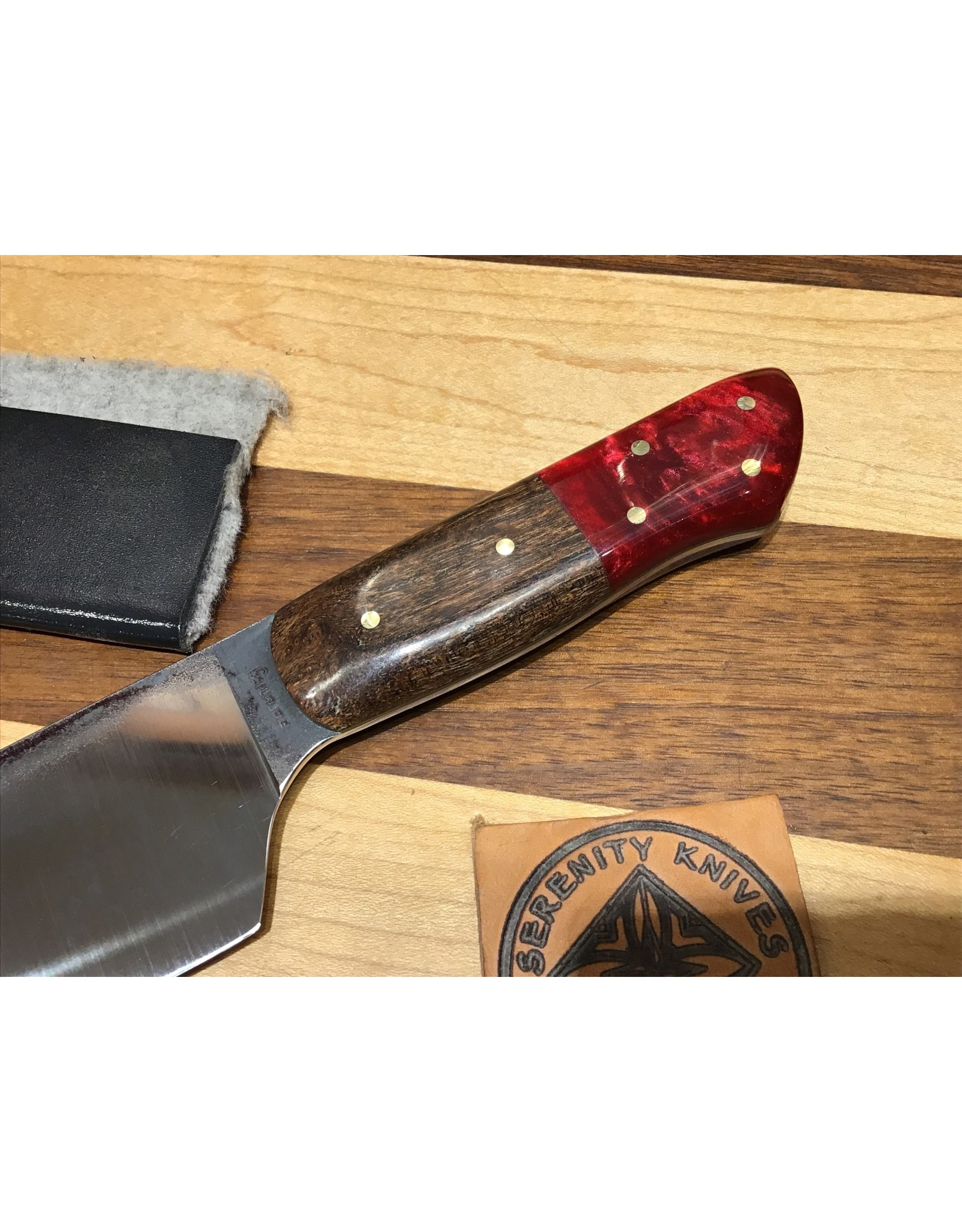 Serenity M-style Gyuto in CPM154 with a Mesquite and Red Resin Handle