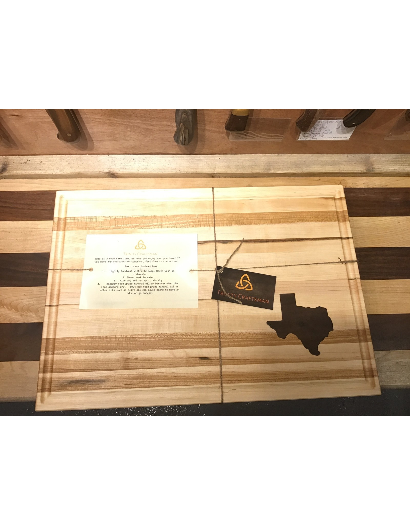 Trinity Craftsman Large Cutting Board Maple Walnut Texas w/Groove