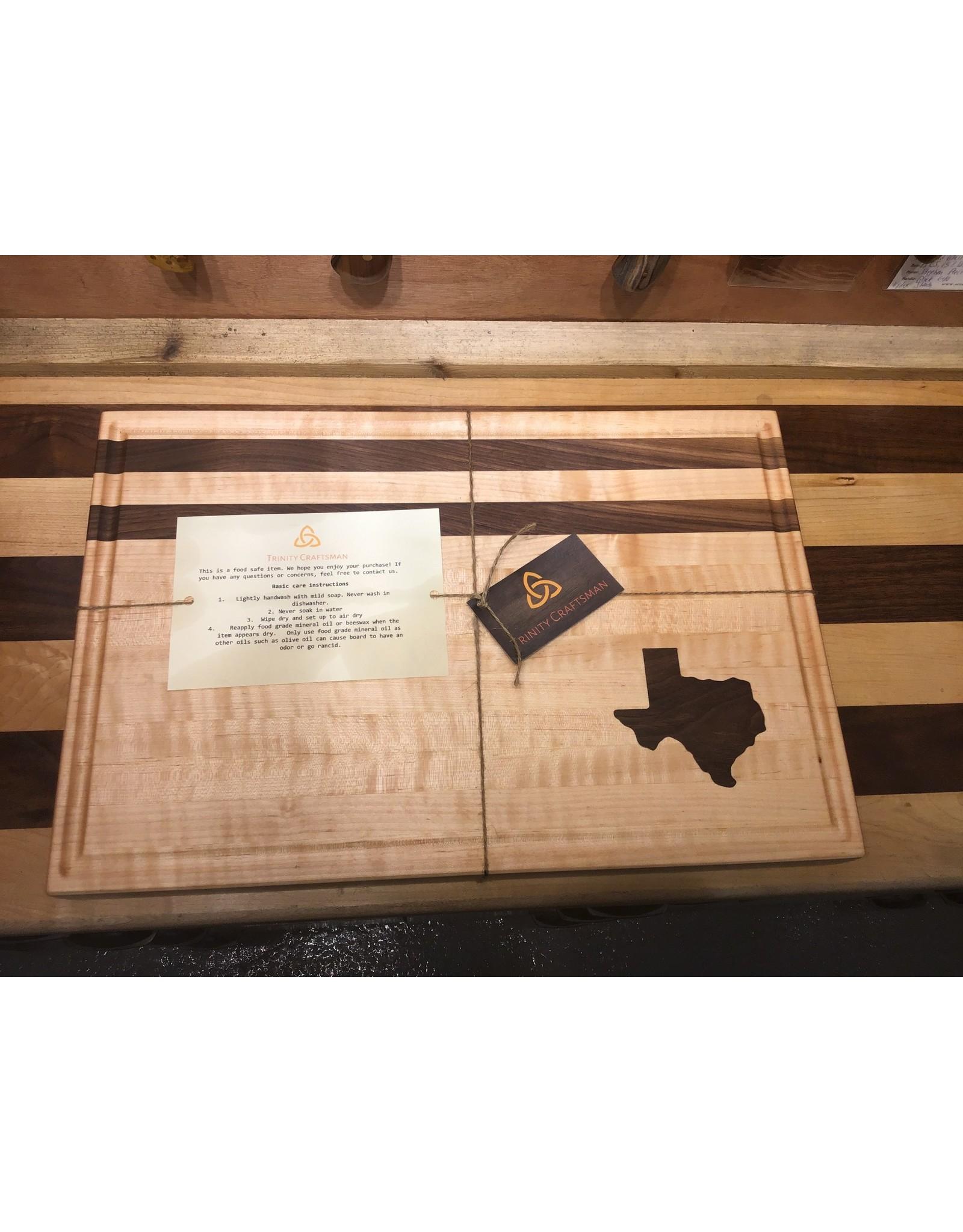 Trinity Craftsman Large Cutting Board Maple Walnut Texas w/Groove