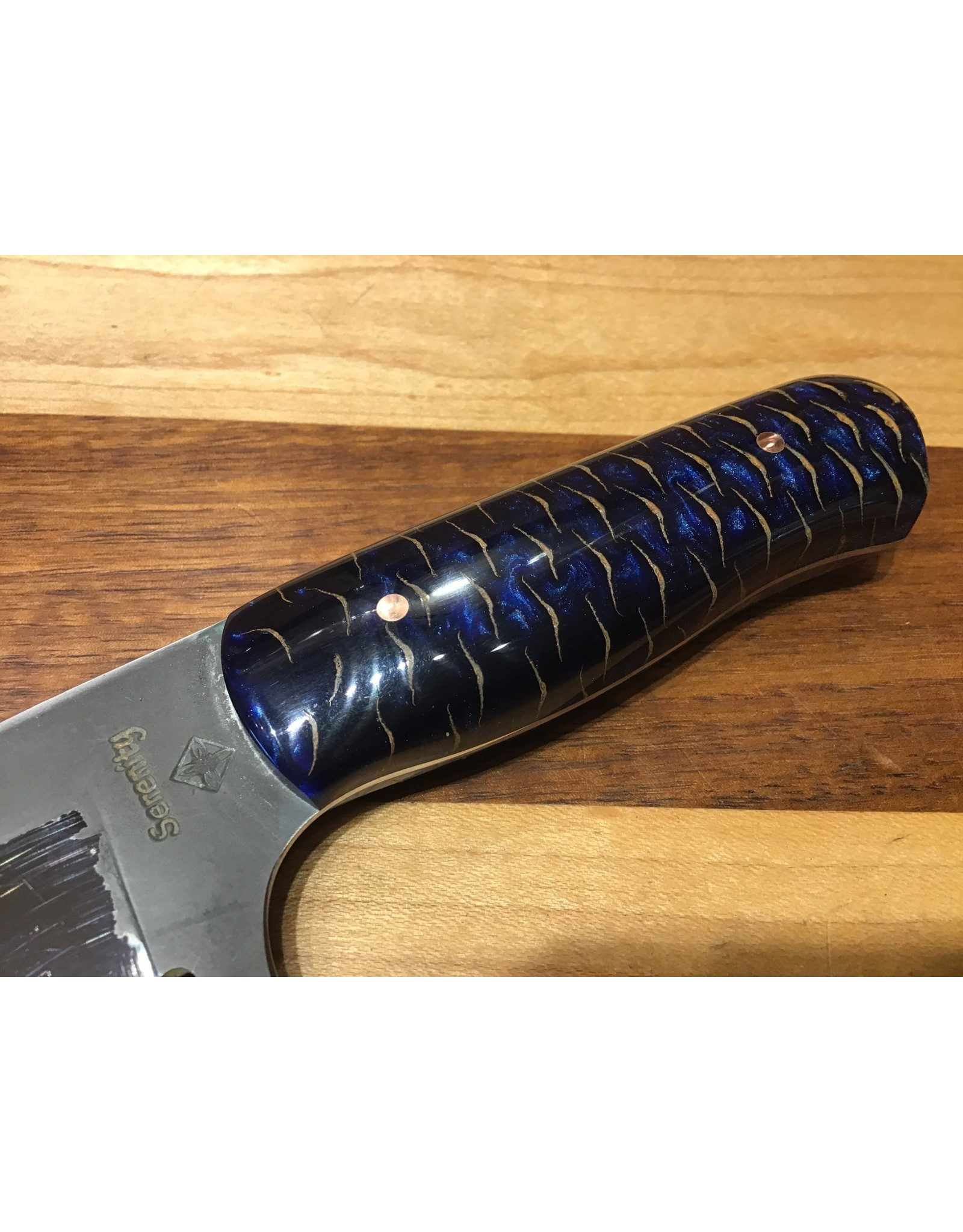 Serenity Boning Knife in Zi-FiNite stainless steel with a Blue Pine Cone Handle