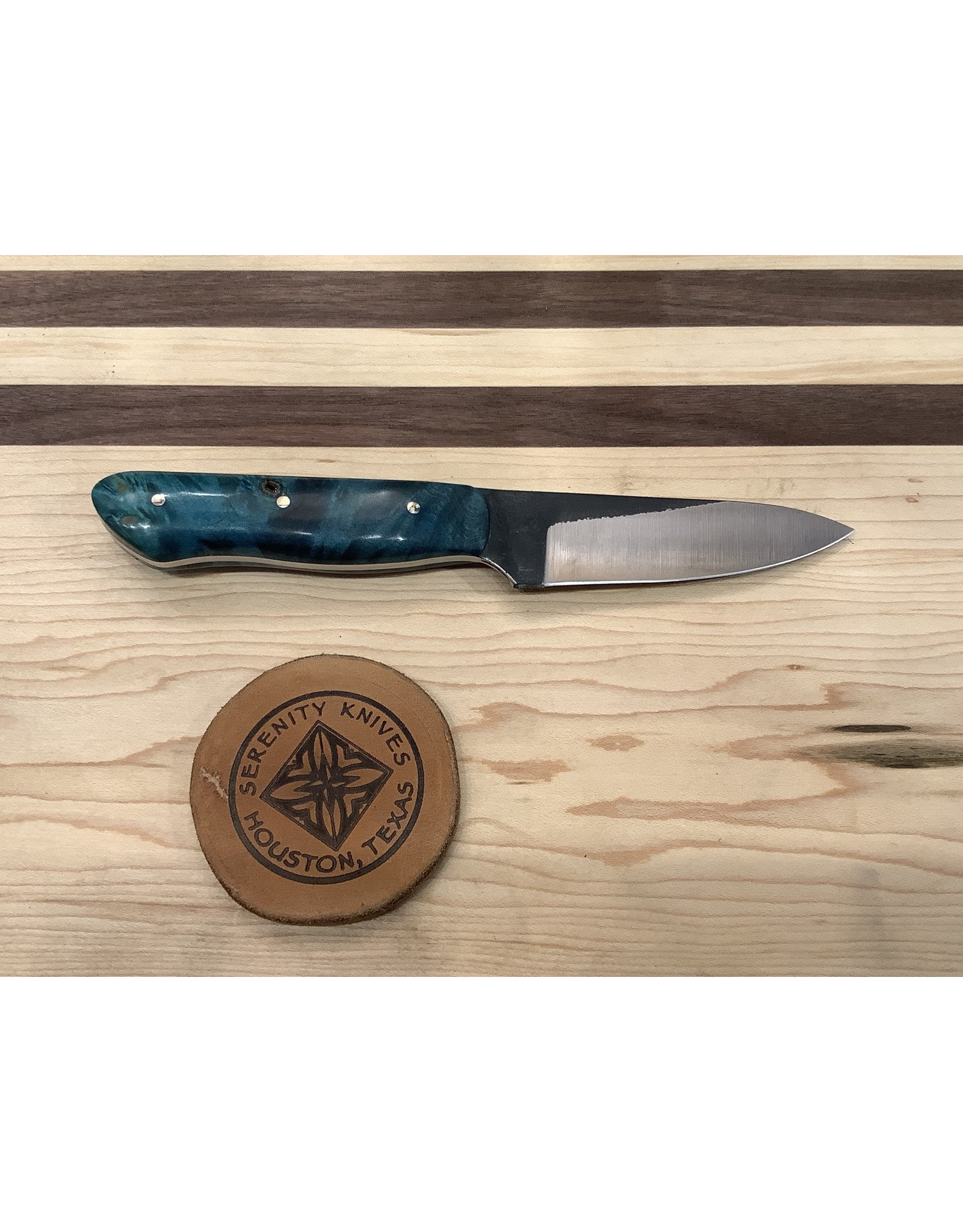 Serenity Paring Knife in CPM154 with Blue Redwood Burl
