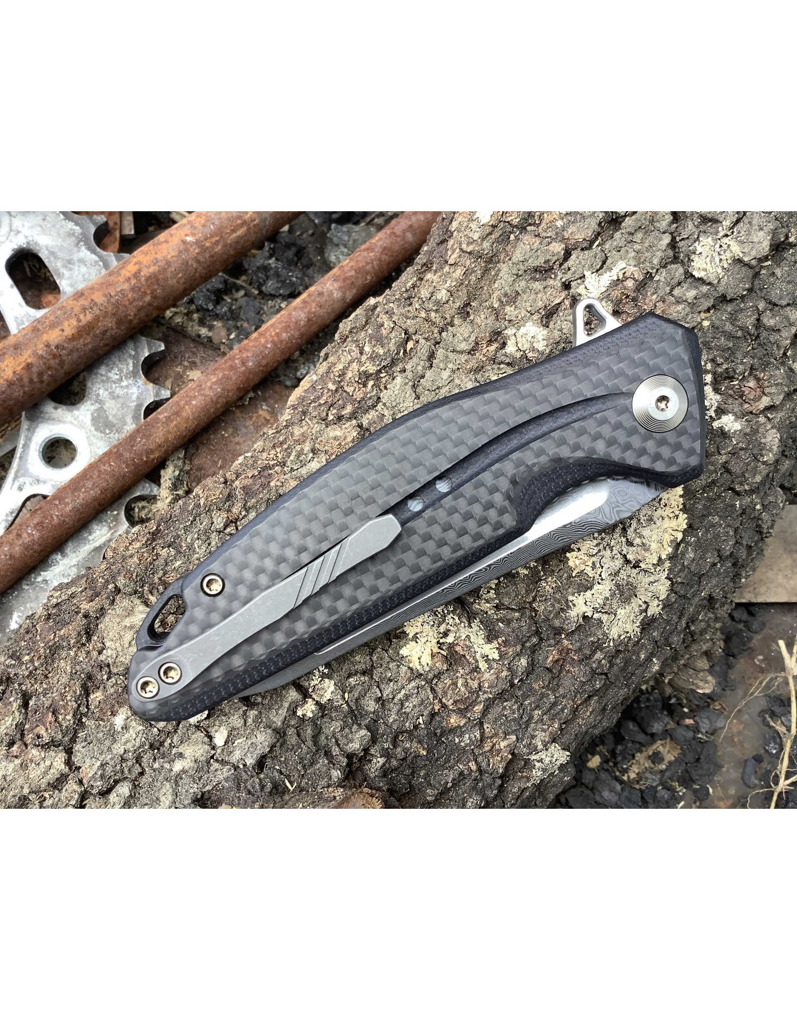 Civivi Statera Damascus with Black G-10 and Carbon Fiber handle