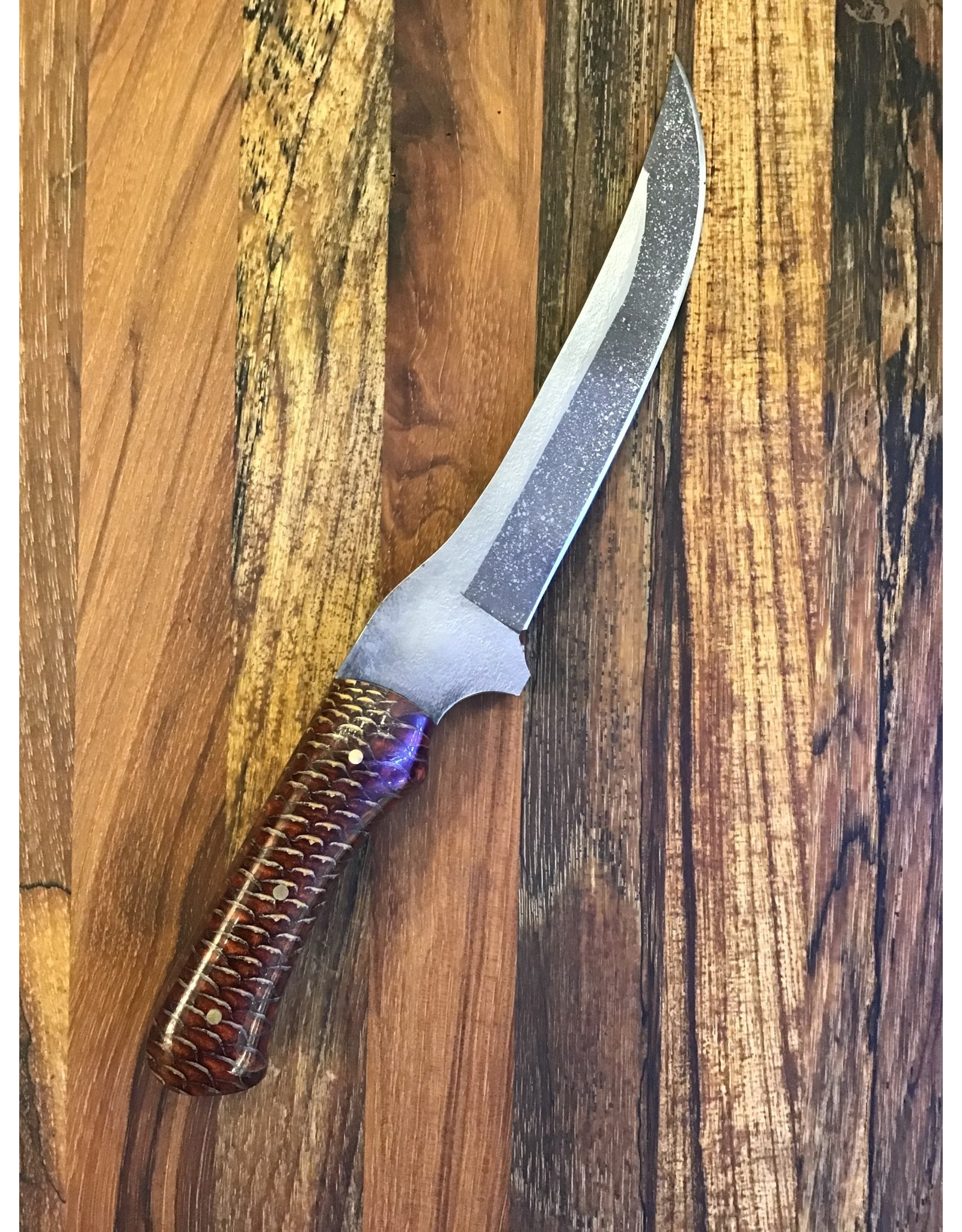 Serenity Boning Knife with Integral Guard and Red Pine Cone Handle