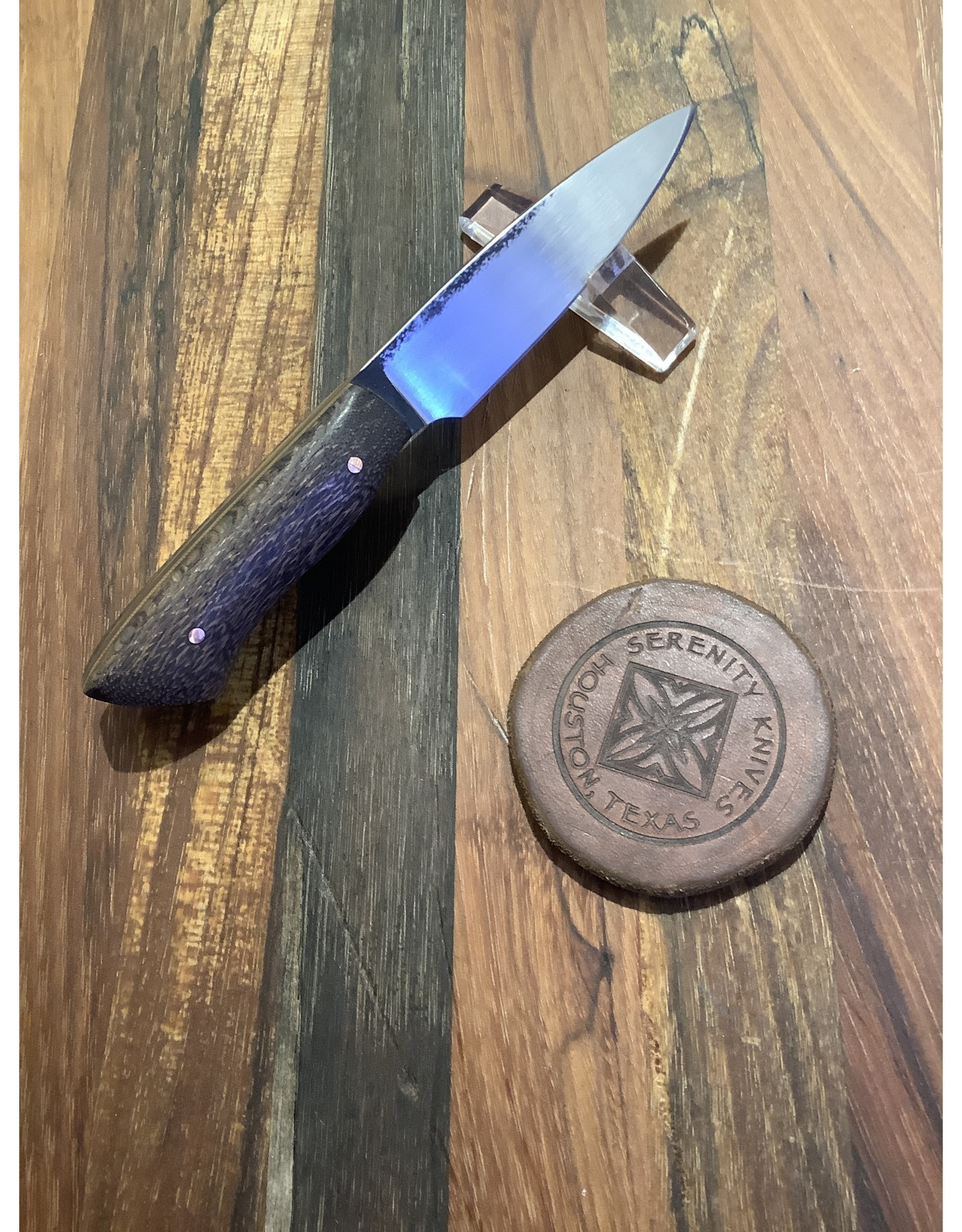 Serenity Stubby Paring Knife with Black Oak Handle