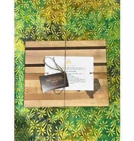 Trinity Craftsman Small Cutting Board Maple with Walnut Texas and Thin Stripes