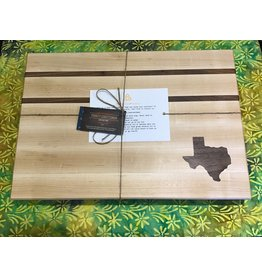 Serenity Large Cutting Board Maple with thin Walnut stripes and Walnut Texas