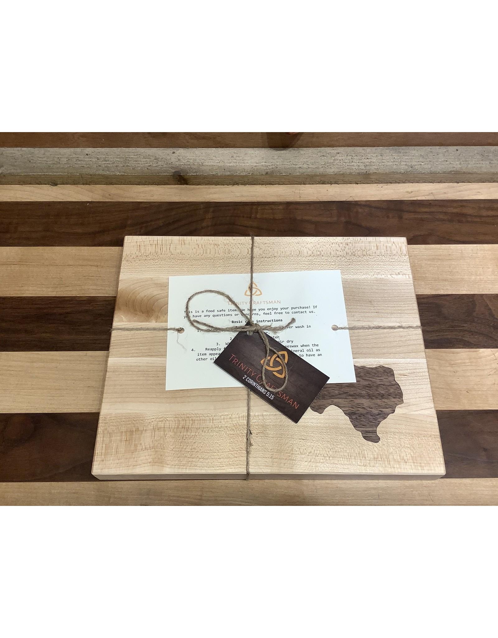 Trinity Craftsman Small Maple Cutting Board with Walnut Texas