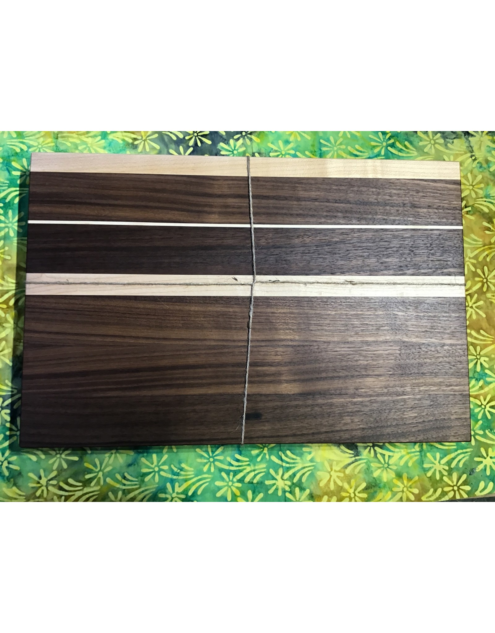 Trinity Craftsman Large Cutting Board Walnut with Groove and Maple Stripes and Texas
