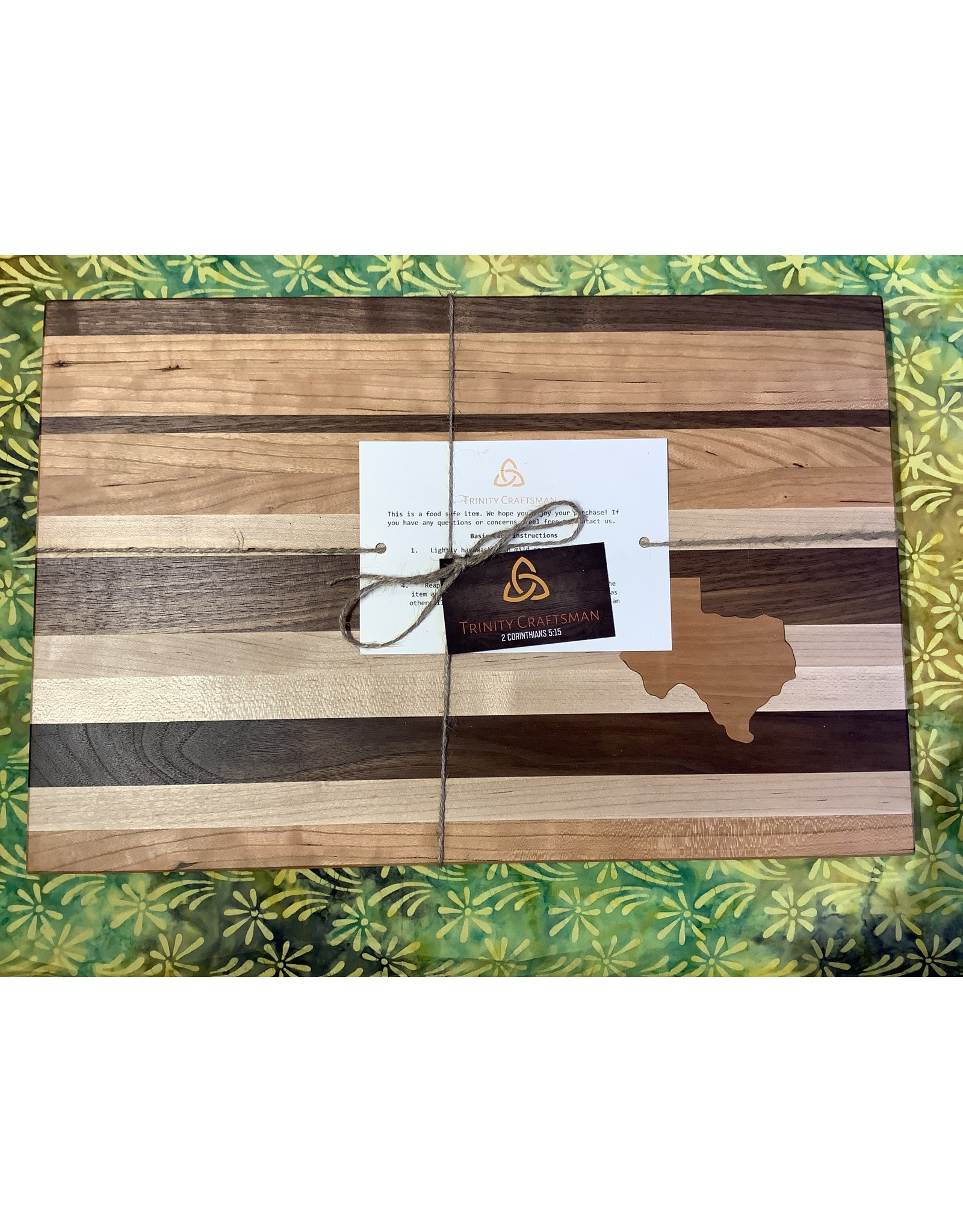 Trinity Craftsman Large Cutting Board with Texas and Stripes, Maple, Walnut, Cherry