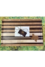 Trinity Craftsman Large Cutting Board Maple, Walnut, Cherry with Texas, Juice Groove and Stripes