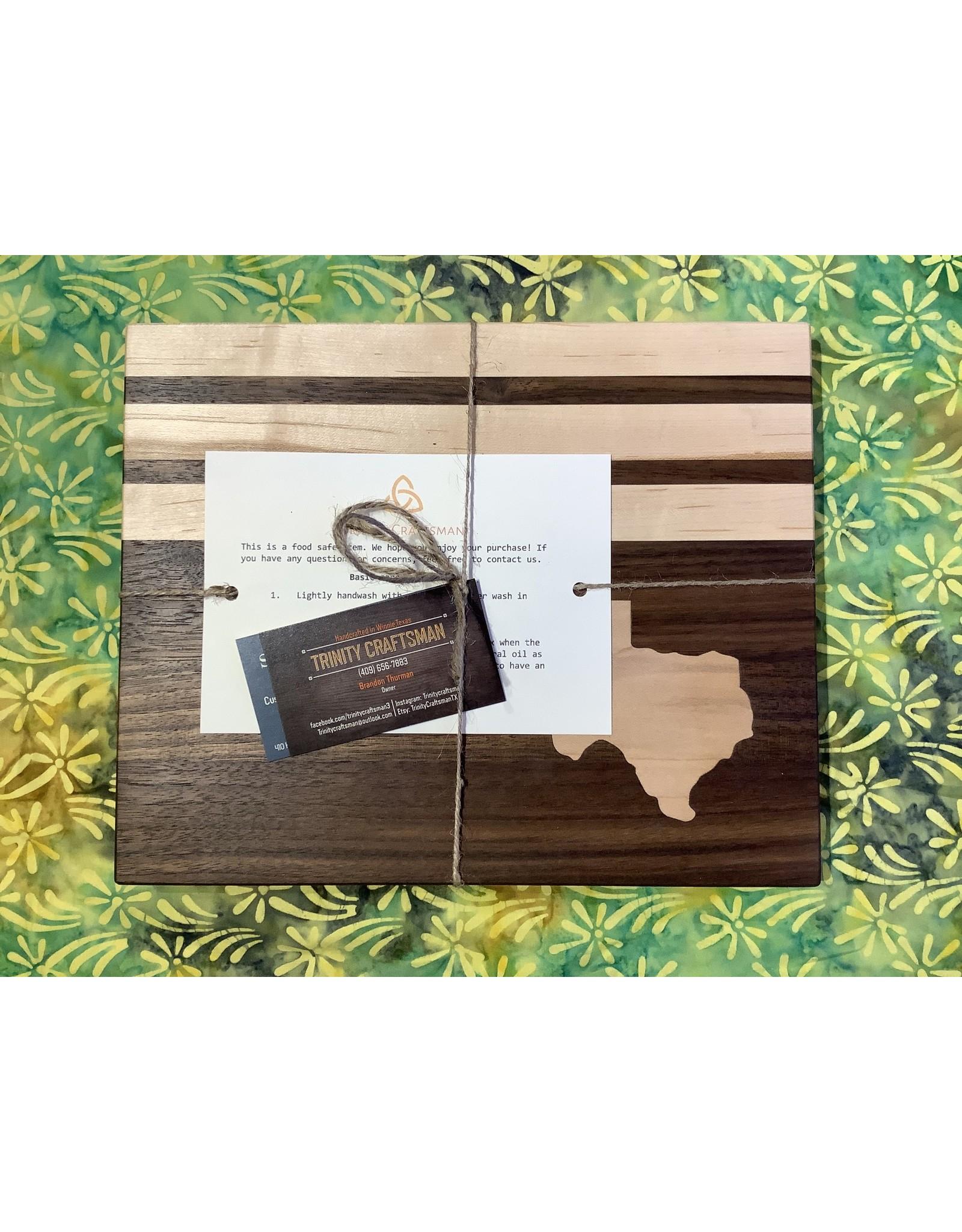 Trinity Craftsman Small Cutting Board Walnut with Maple stripes and Texas