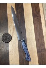 Serenity K-Tip Slicer with CPM-154 blade and mirror polish with Blue Spalted Pecan