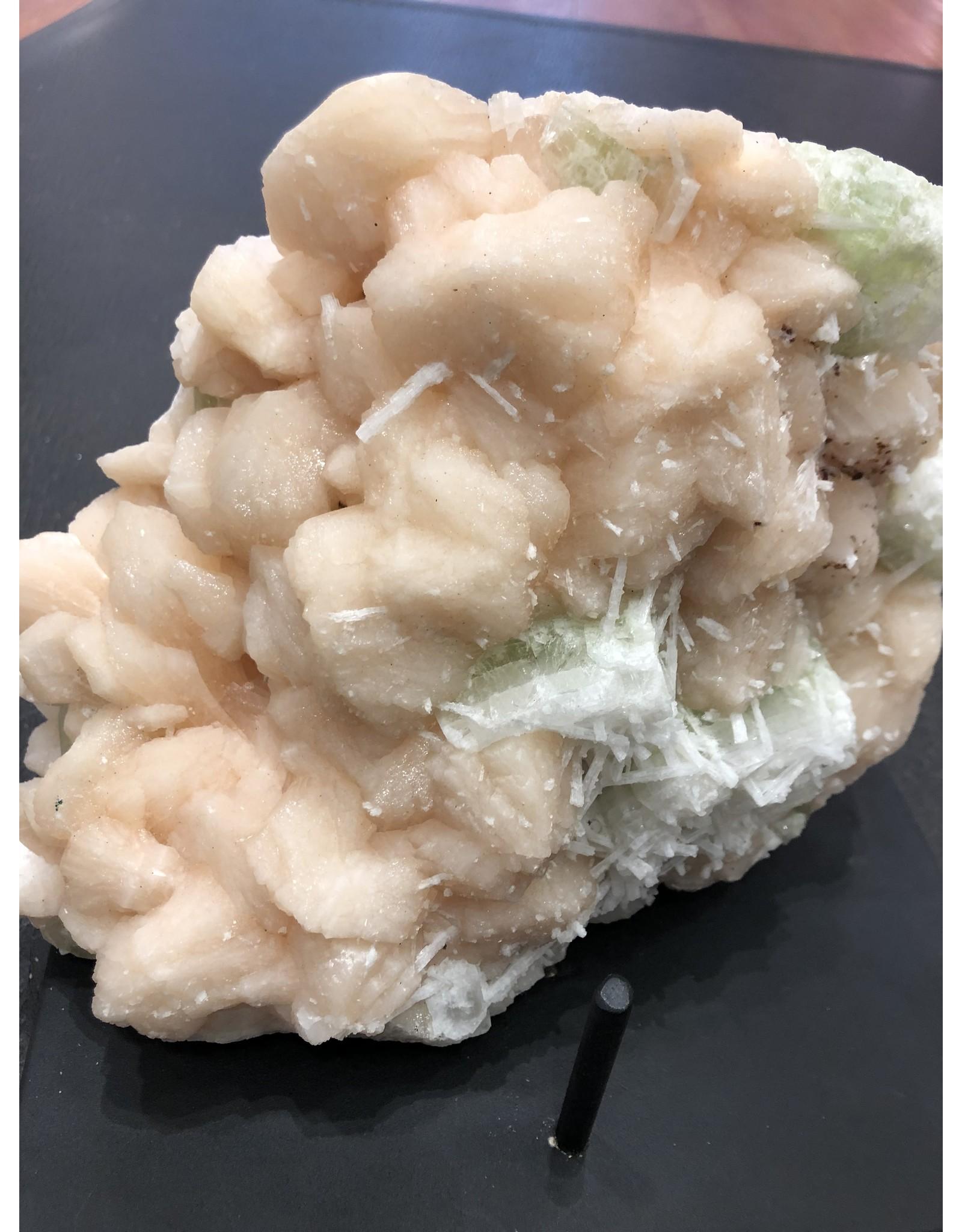 Scolecite Crystals on Stillbite & Apophylite