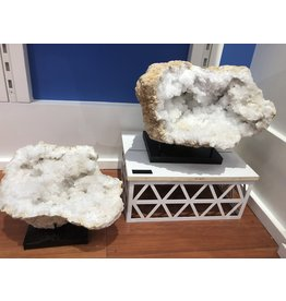 Snow Quartz Geode Pair